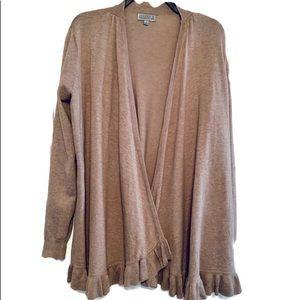 Tan Waterfall Cardigan Sweater Ruffle Hem Size L